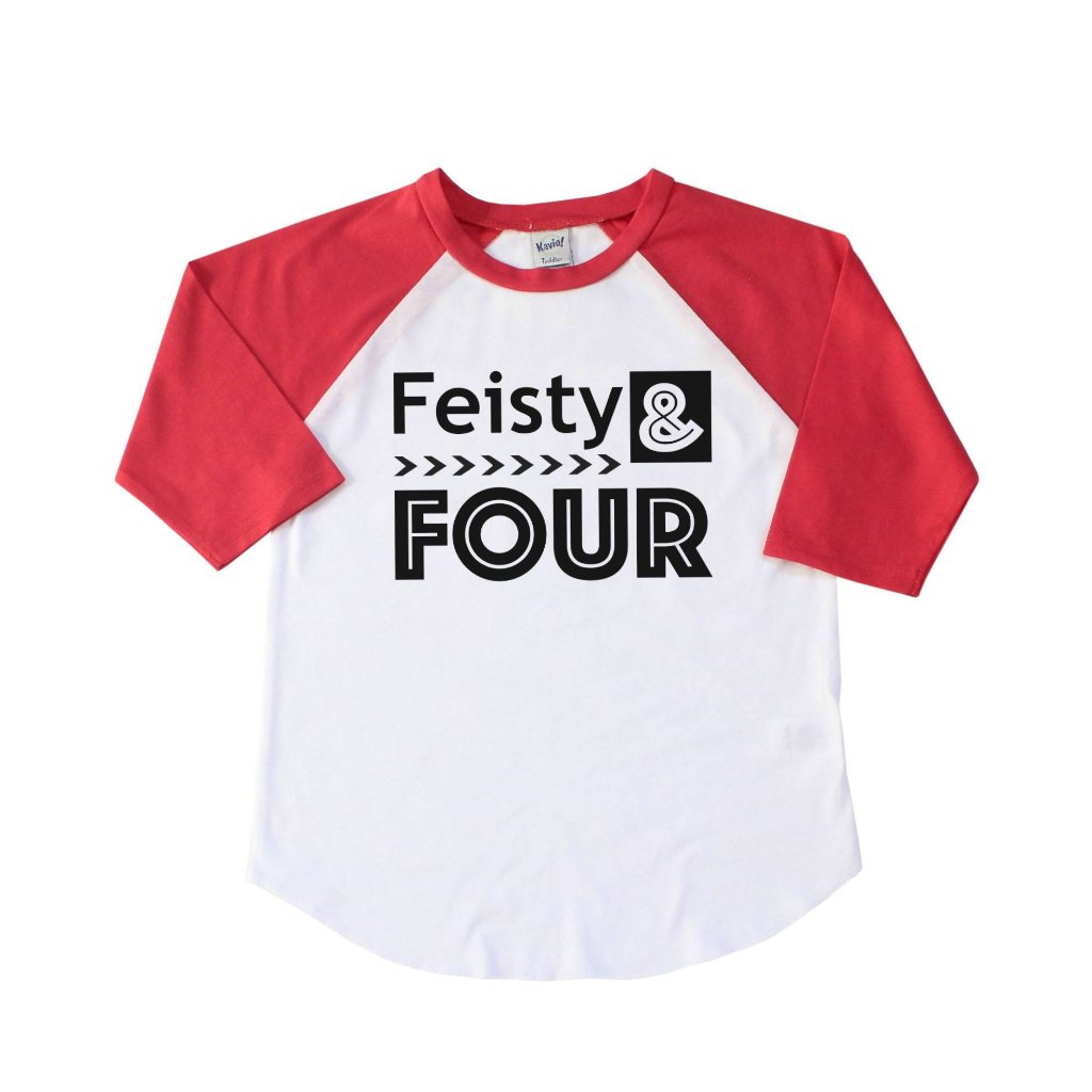 Red sleeve raglan with feisty and four in black lettering