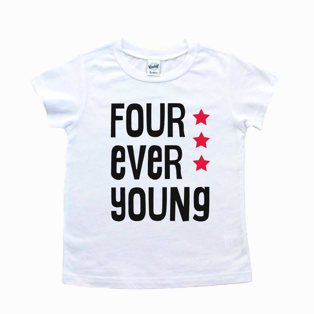 White tee with four ever young in black with red stars