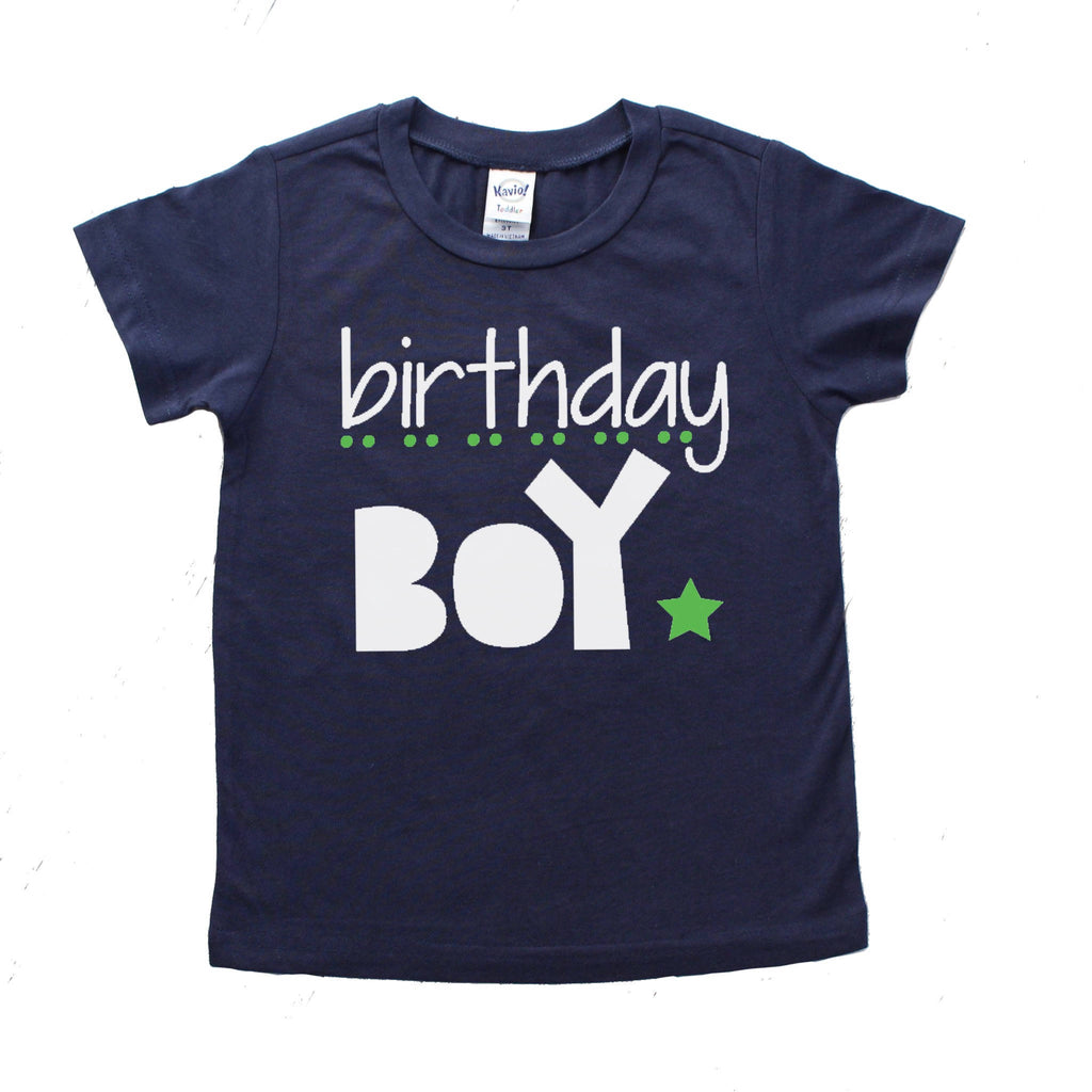 Navy shirt with birthday boy in white and green
