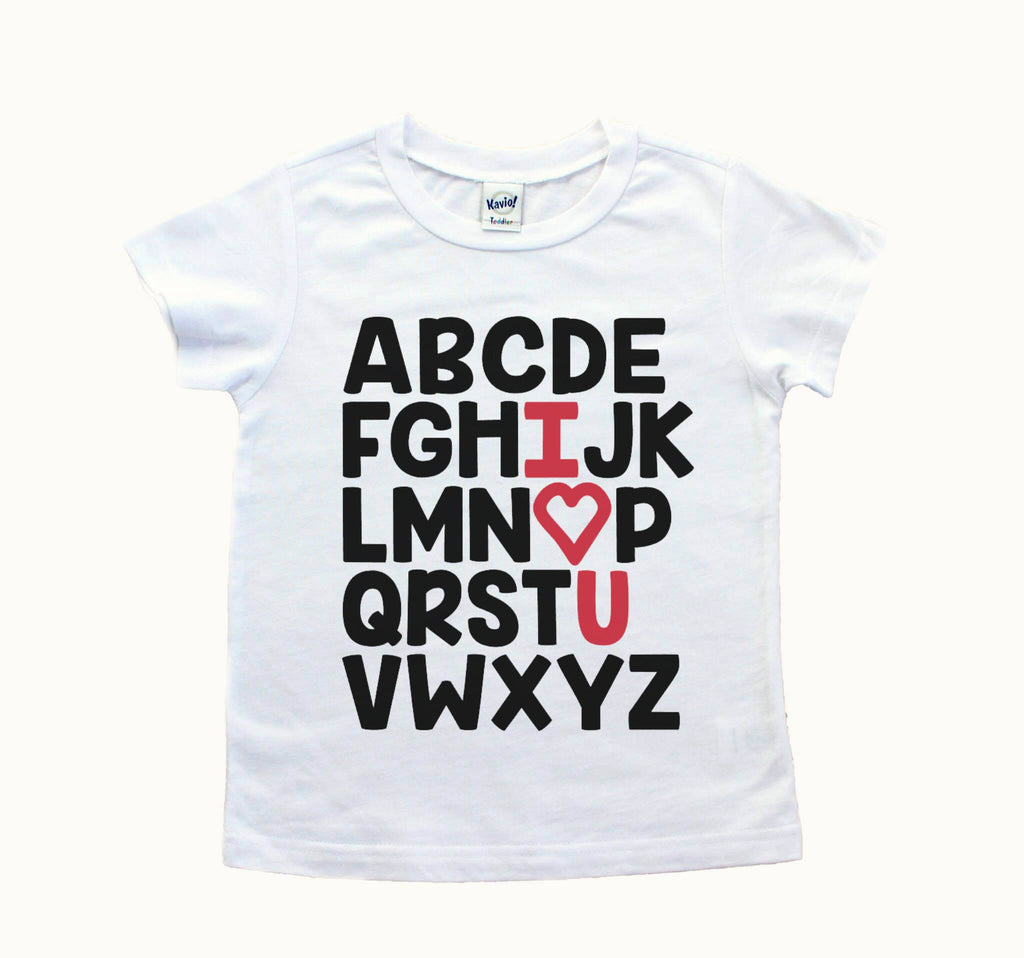 White tee with black alphabet and I heart U in red