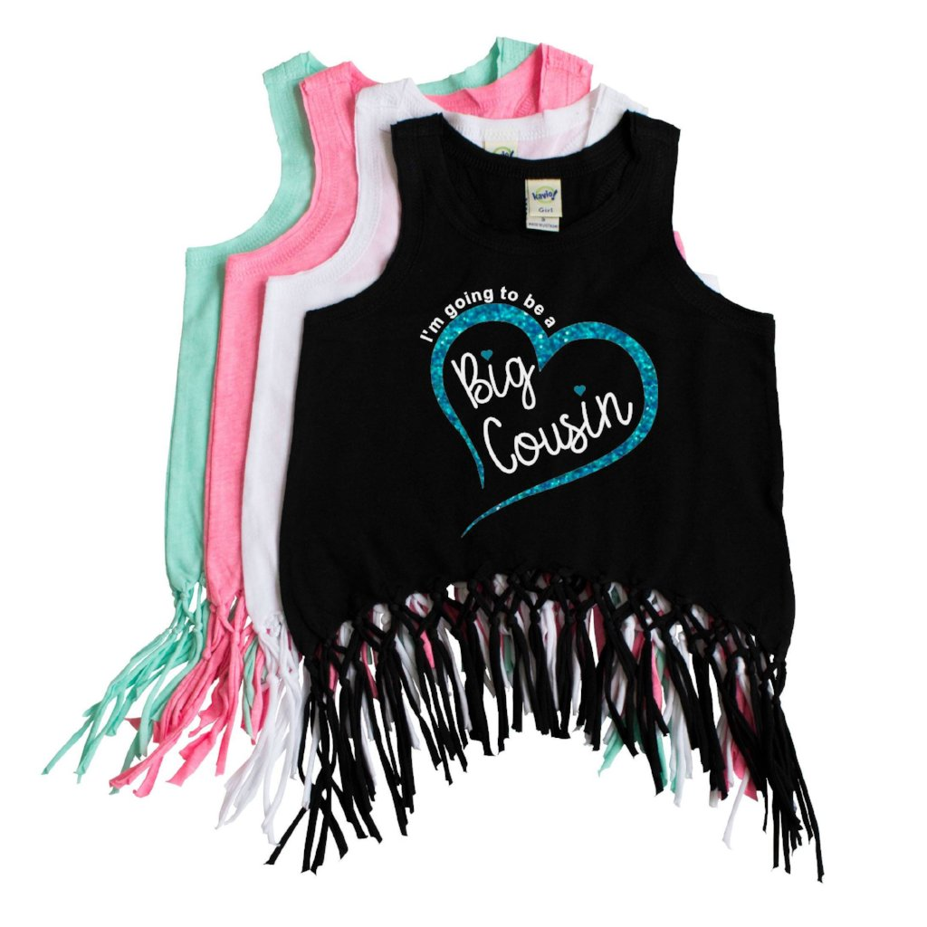 Black fringe tank top with I'm going to be a big cousin in white with aqua glitter heart