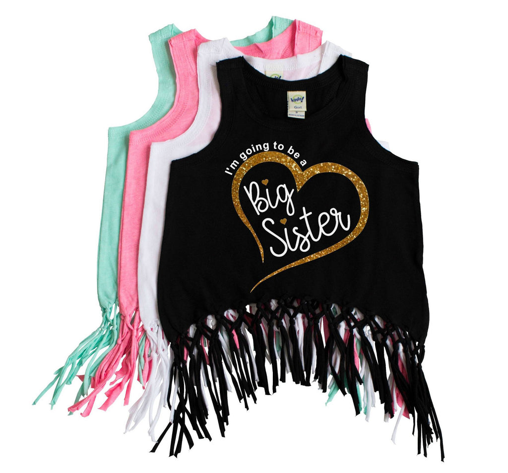 Black fringe tank top with I'm going to be a big sister in white with gold glitter heart