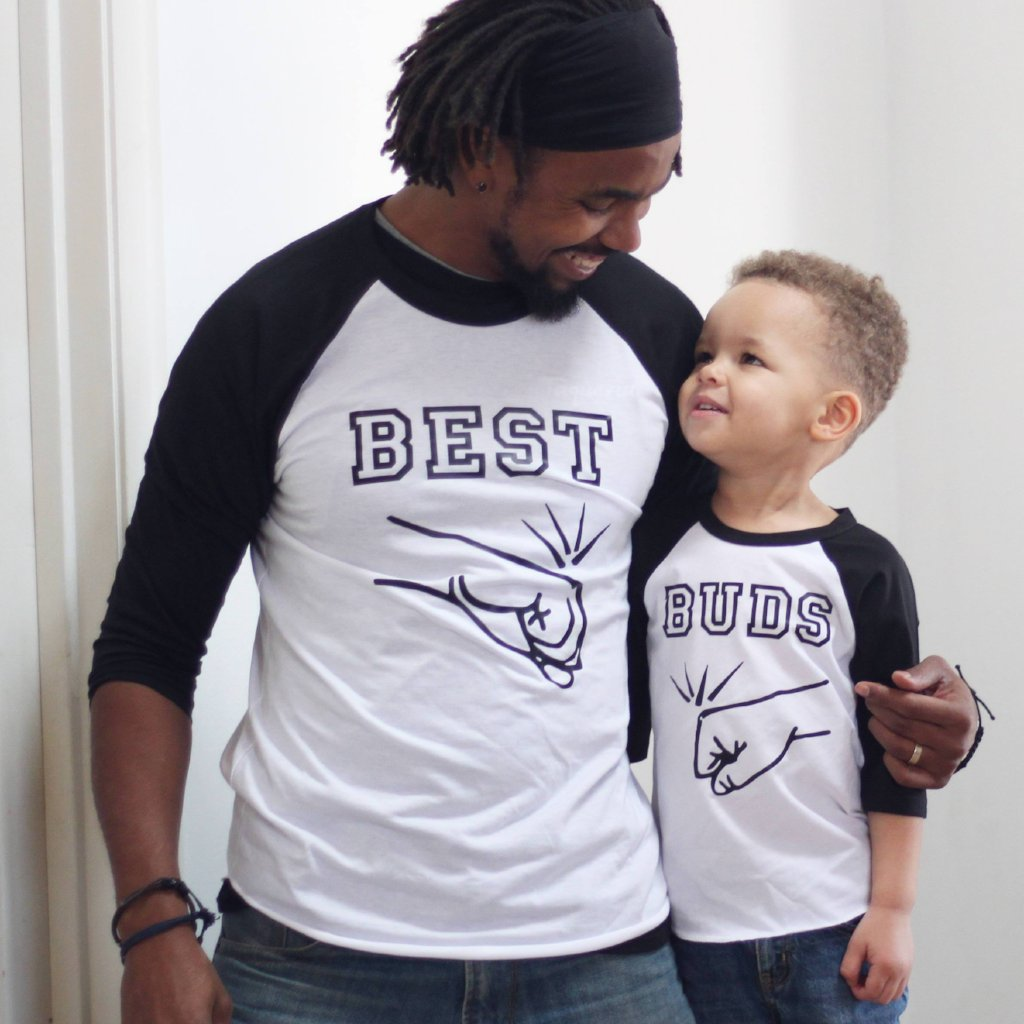 Father and son wearing matching fist bump best buds raglan tees