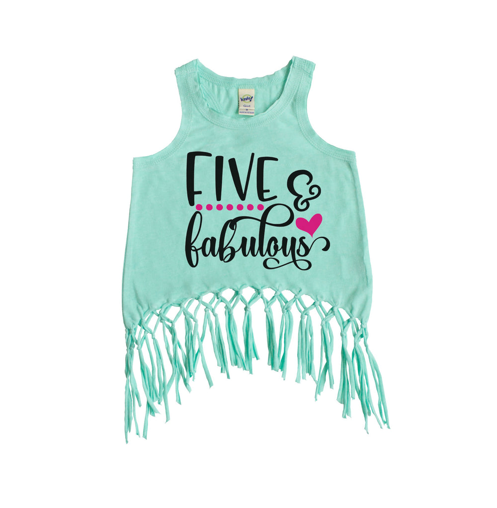 Green fringe tank with five and fabulous written in black and pink