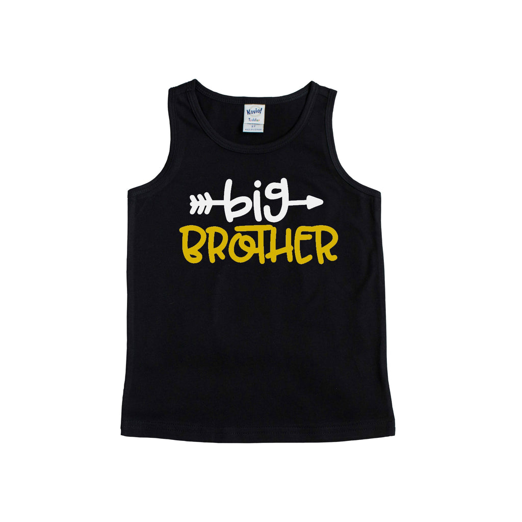 Black tank top with big brother in white and sun yellow
