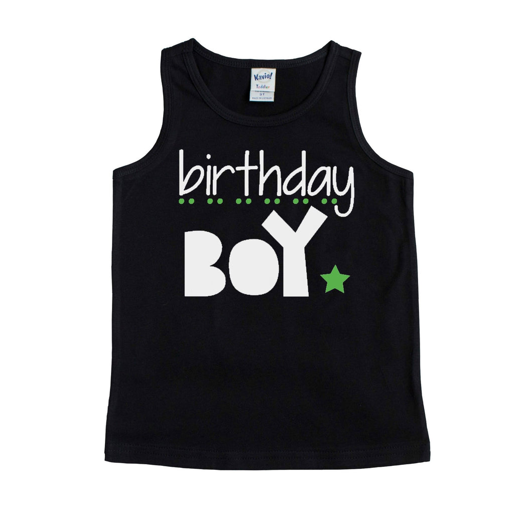 Black unisex tank with Birthday boy in white with green dots and star