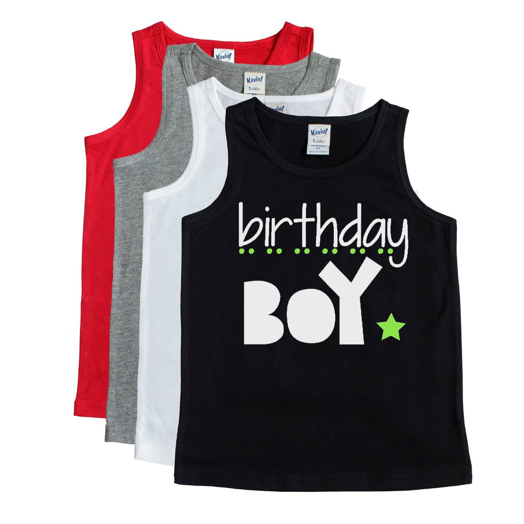 Black top with birthday boy in white and green