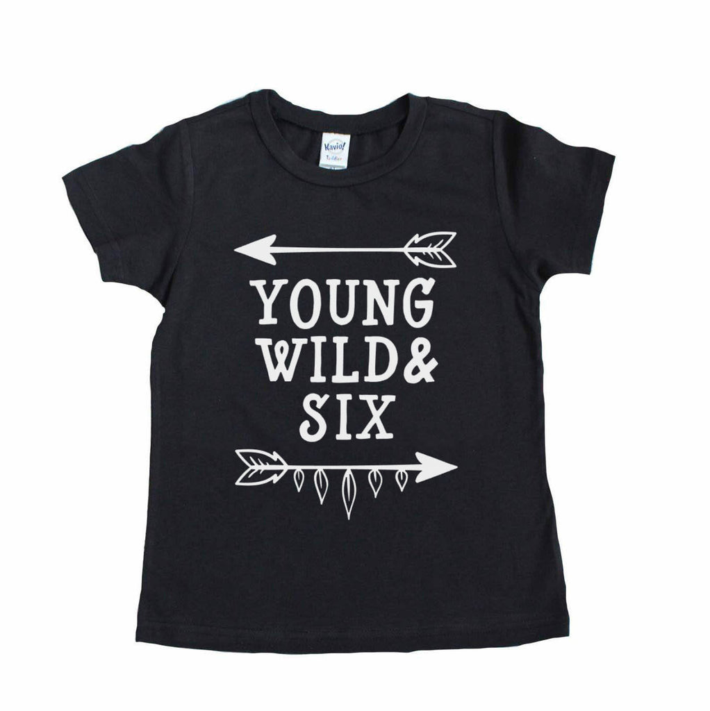 Black short sleeve shirt with young wild and six in white
