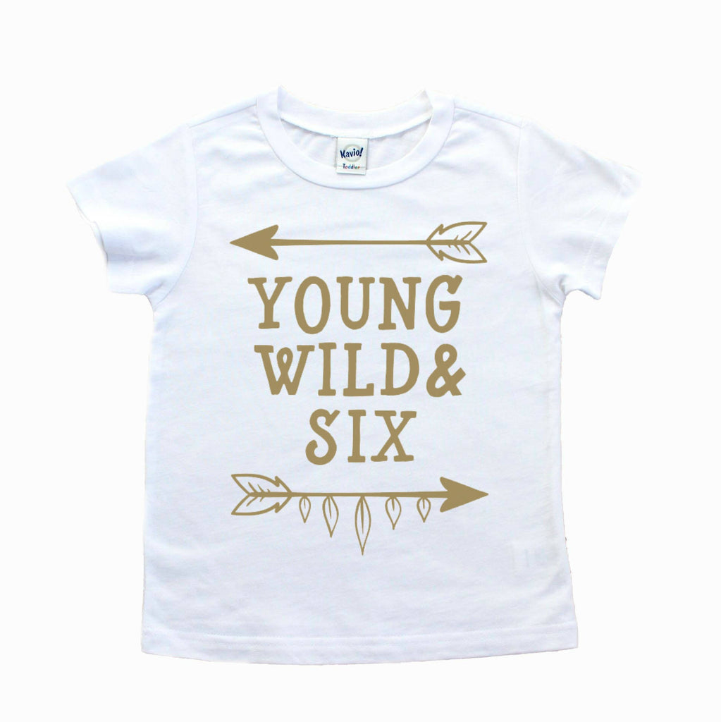 White shirt with young wild and six in gold