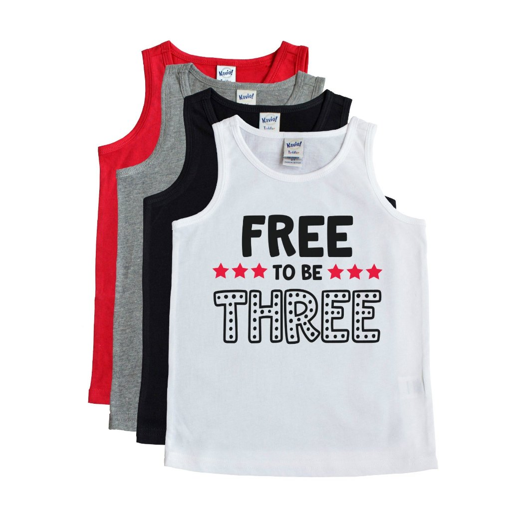 White tank with free to be three in black with red stars