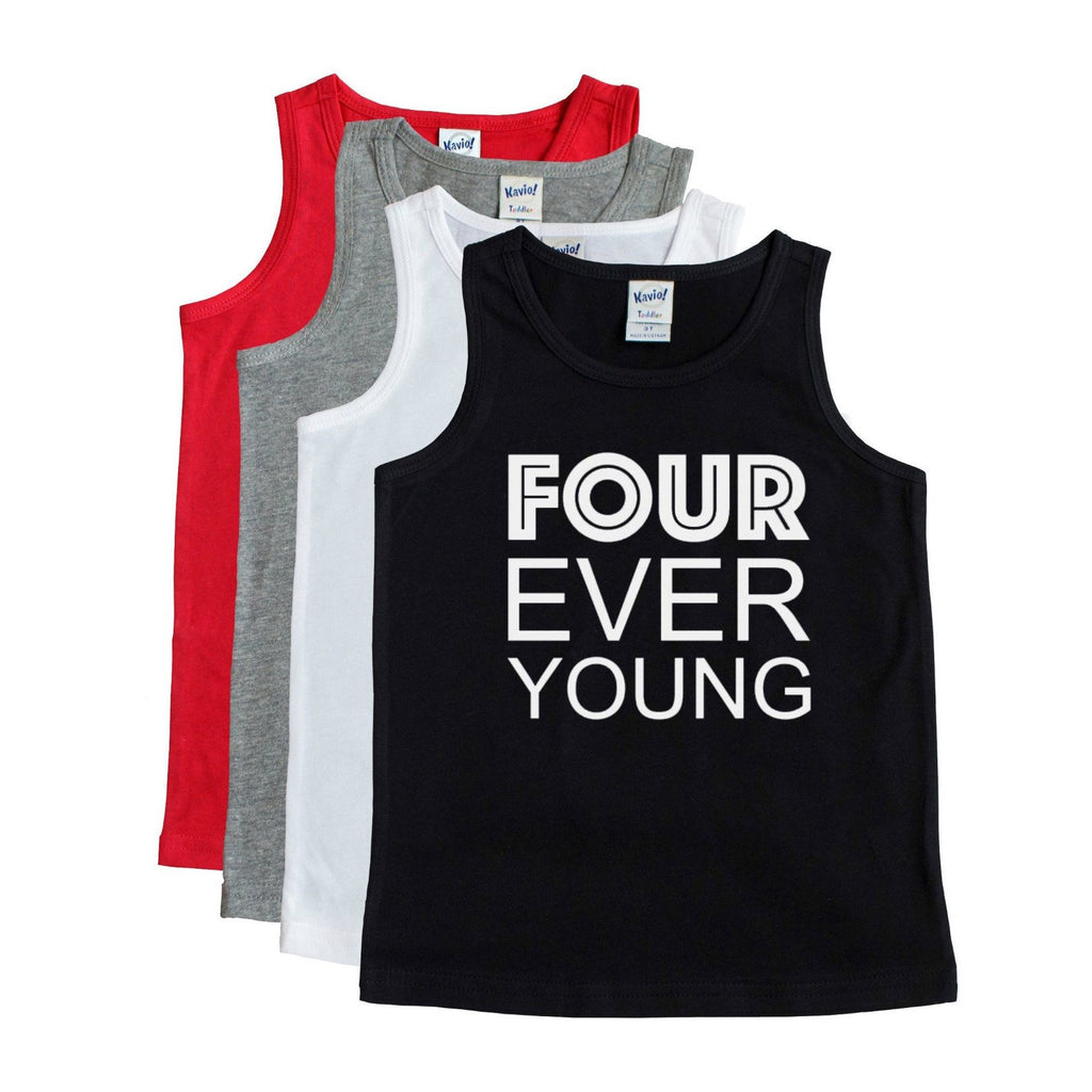Black tank with four ever young written in white