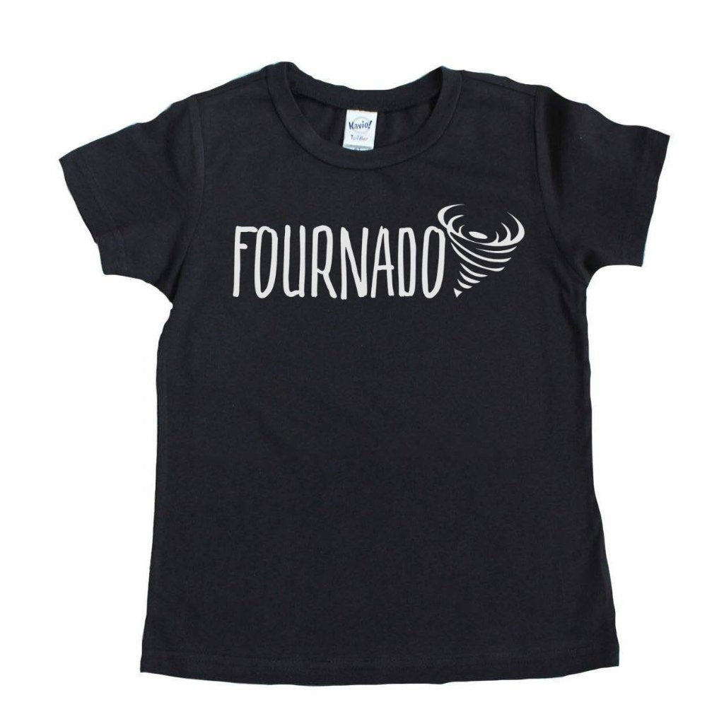 Black shirt with fournado written in white