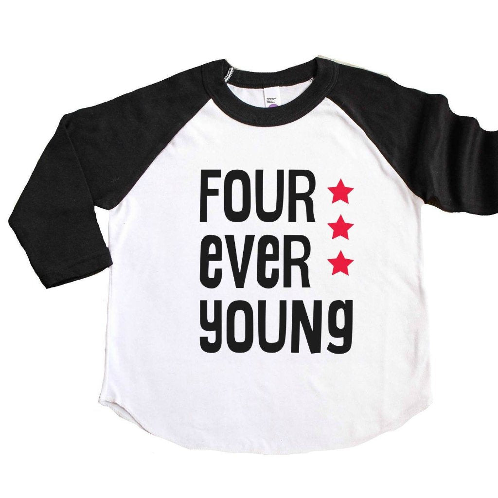 Black sleeve raglan with four ever young written in black with red stars