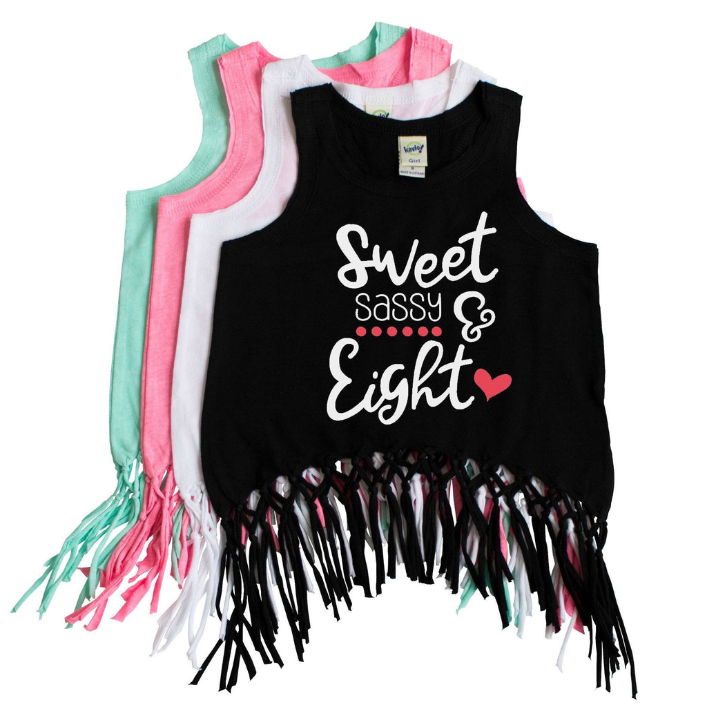 Black macrame fringe tank with sweet sassy and eighth in white and hibiscus