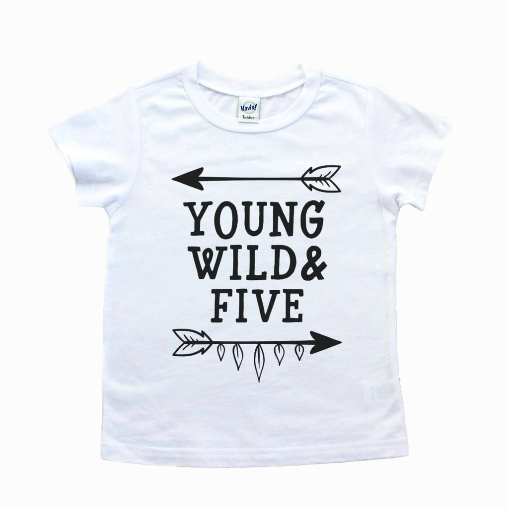 Short sleeve white t-shirt with young wild and five in black writing