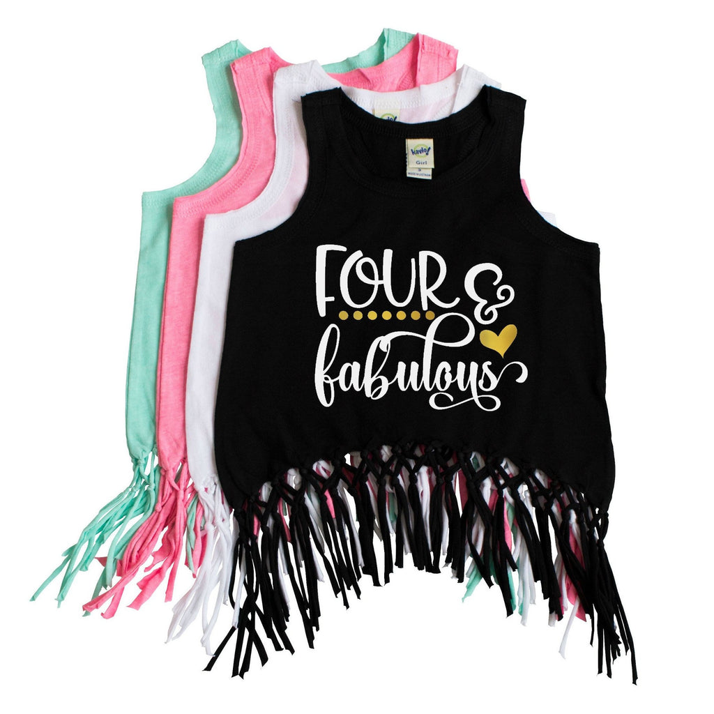 Black fringe tank with four and fabulous written in white and gold