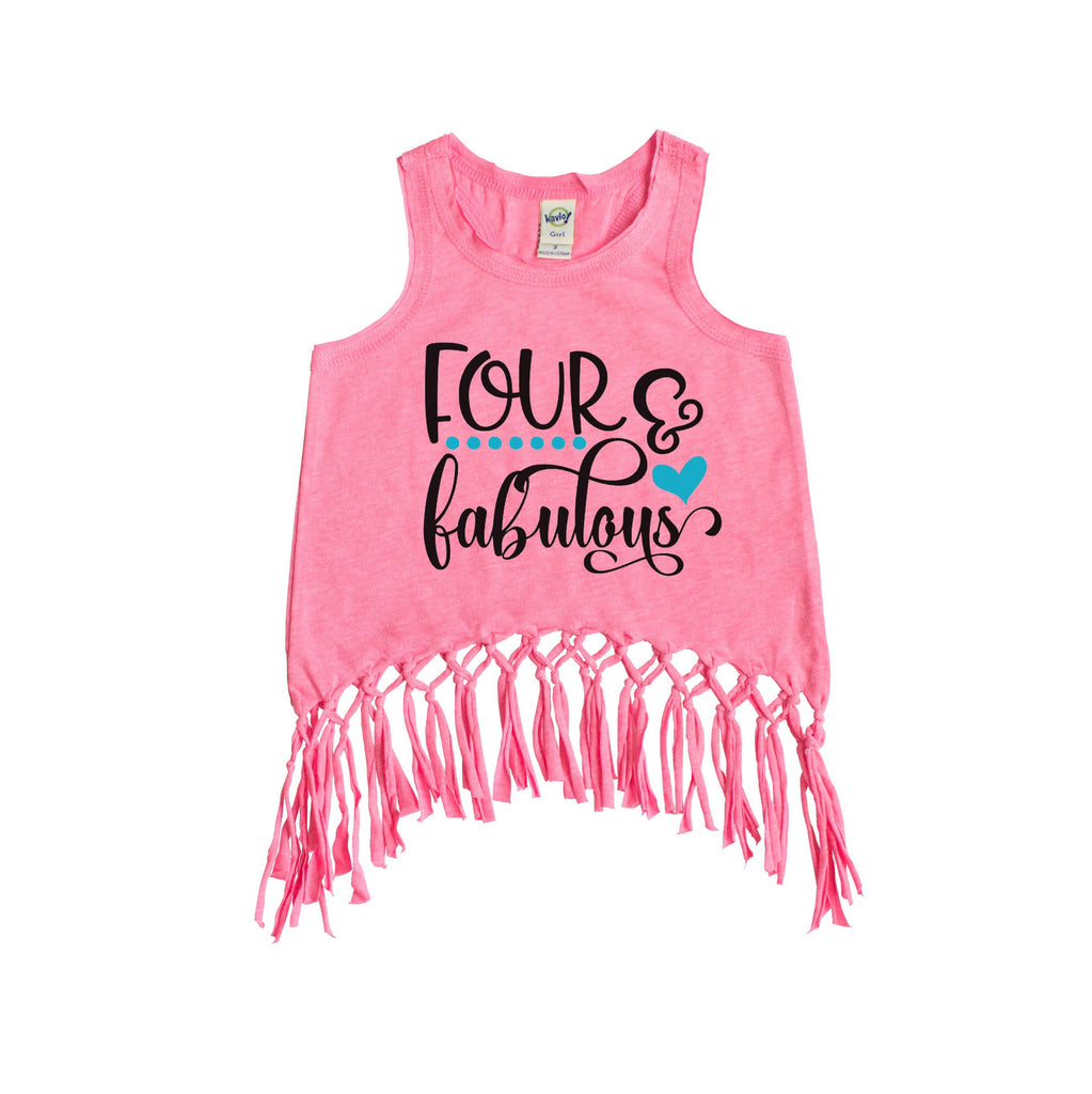 Pink fringe tank with four and fabulous written in black and peacock blue