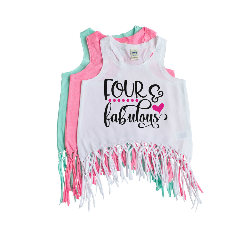 White fringe tank with four and fabulous written in black and pink