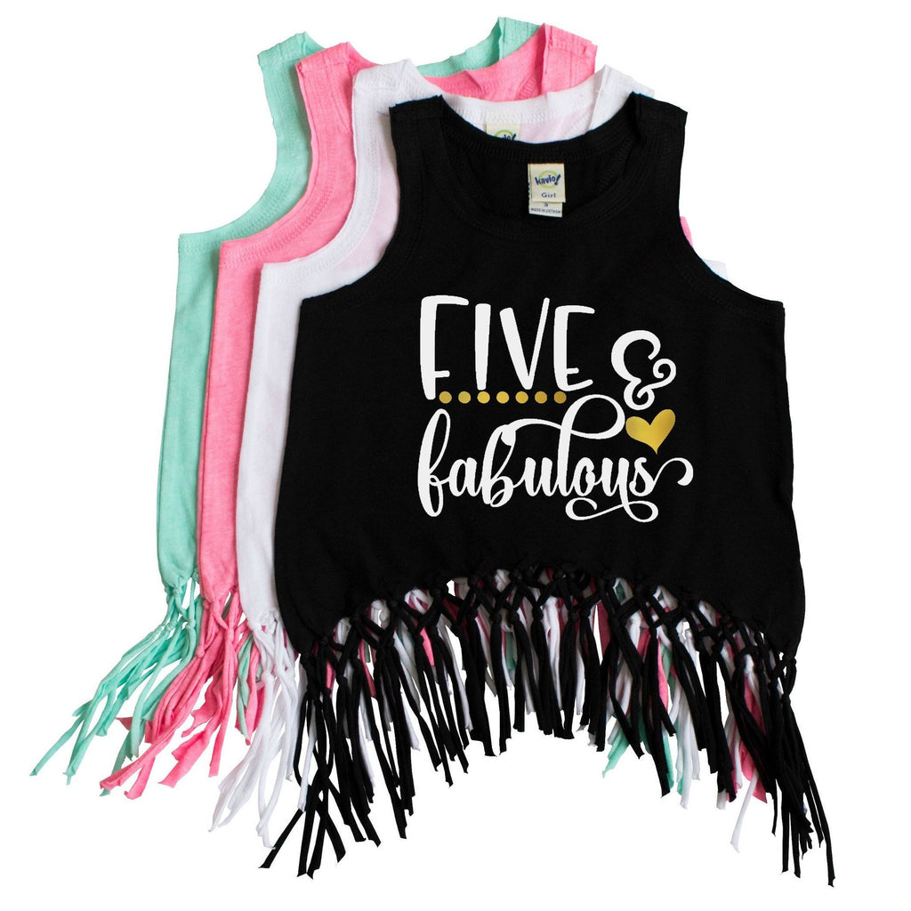 Black fringe tank with five and fabulous written in white and gold