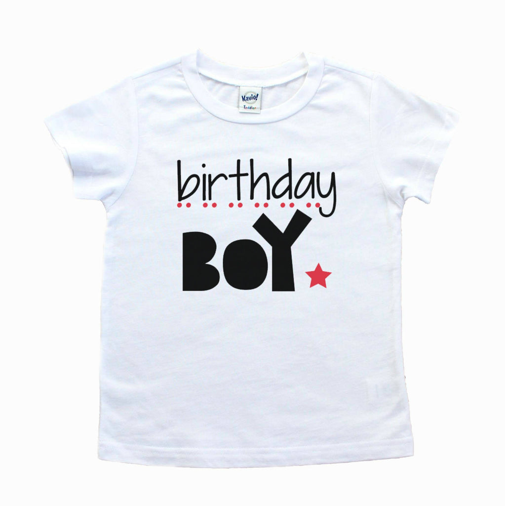 White shirt with birthday boy written in black with red star and dots