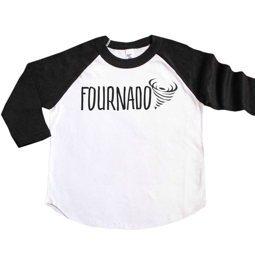 Black sleeve raglan with fournado written in black