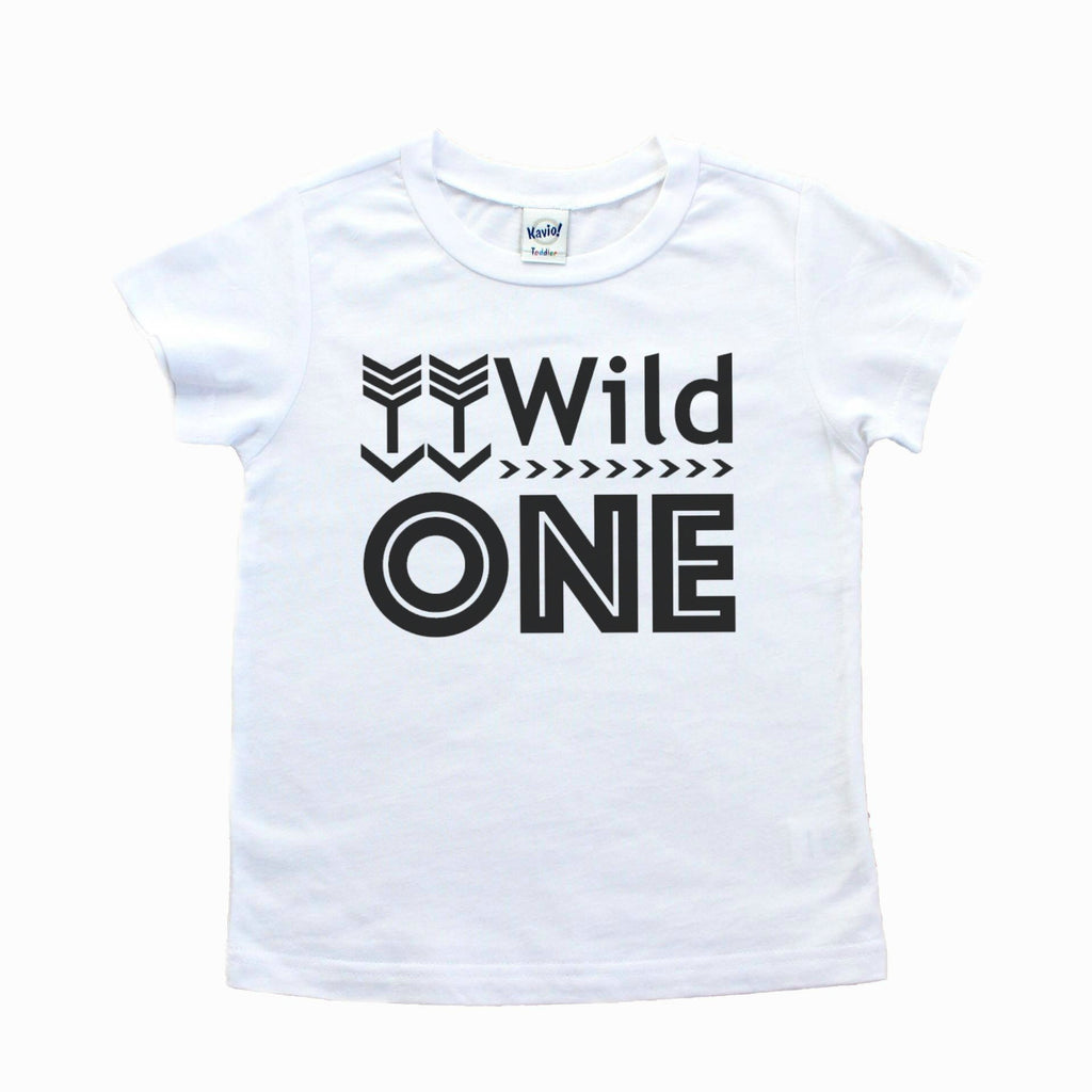 White short sleeve tee with wild one written in black
