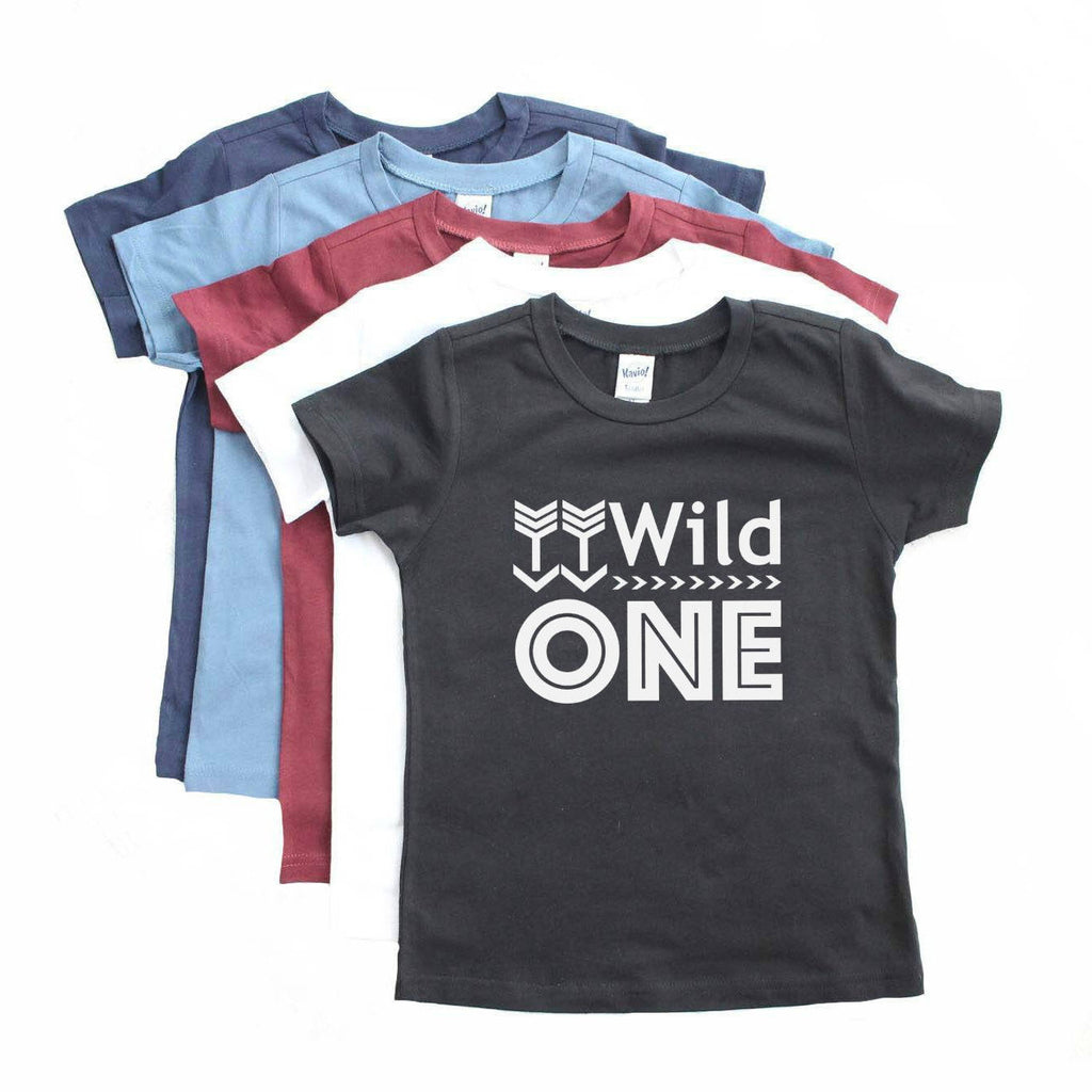 Color tshirt array with wild one written in white on black top tee