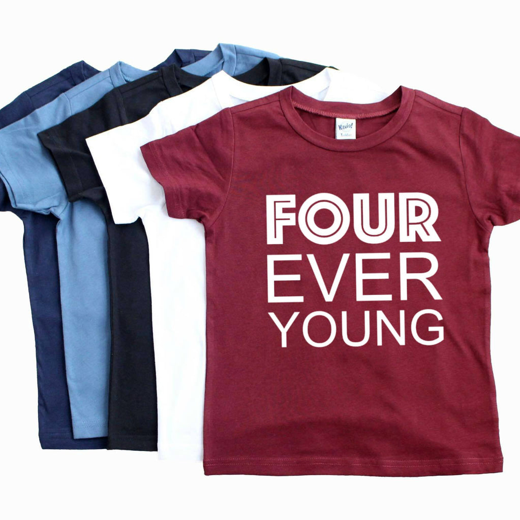 Maroon tshirt with four ever young written in white