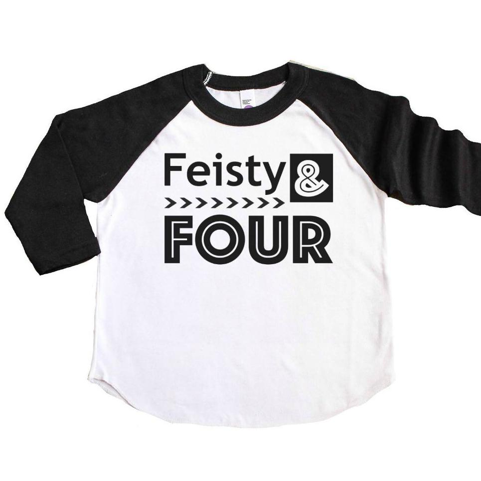 Black sleeve raglan with feisty and four written in black
