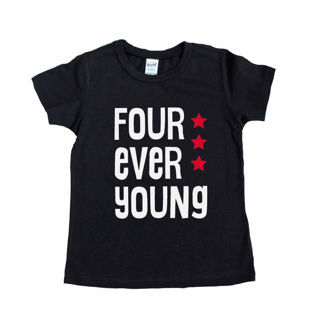 Black tee with four ever young in white with red stars