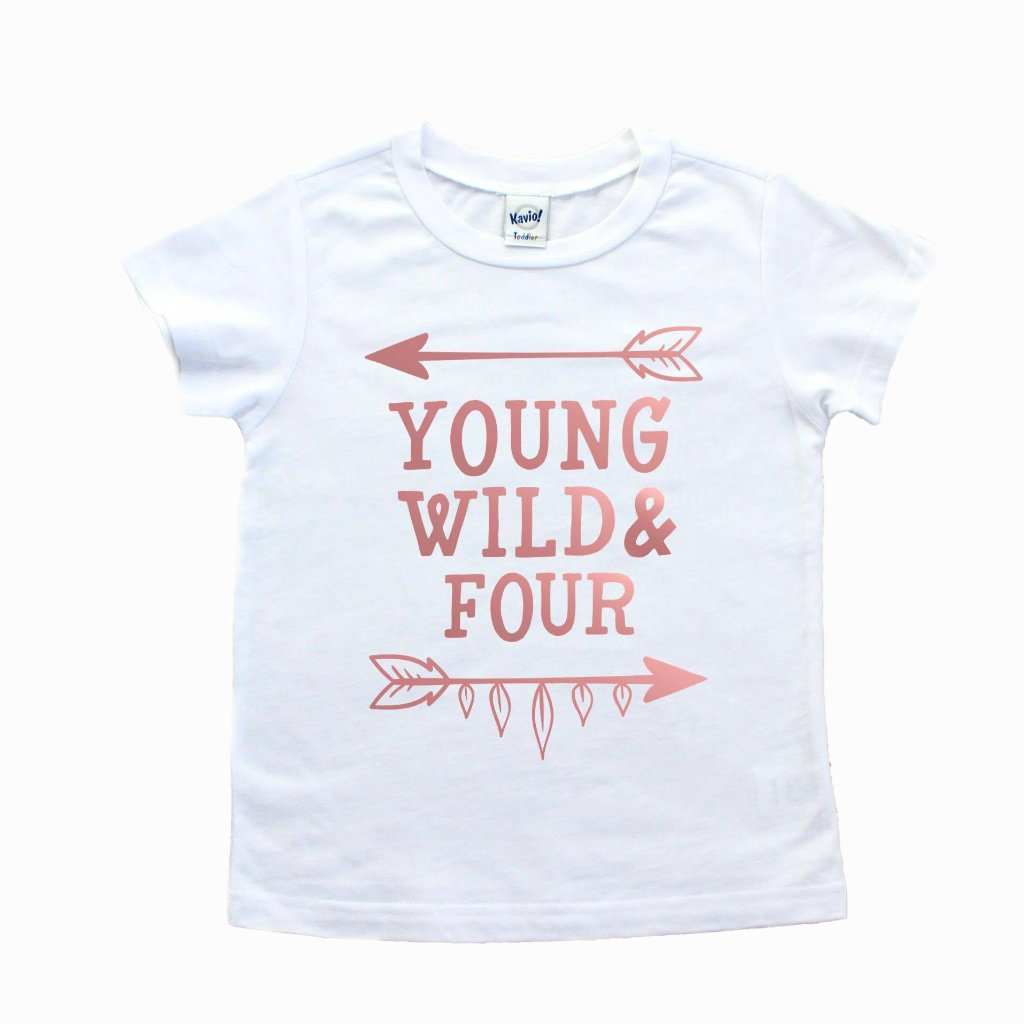 White short sleeve shirt with rose gold young wild and four written on front