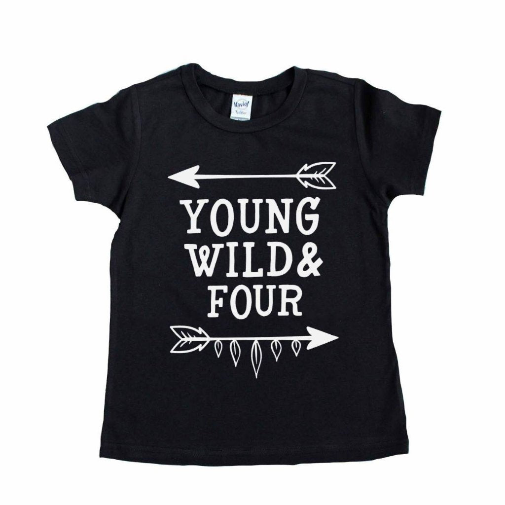 Black short sleeve shirt with young wild and four written in white