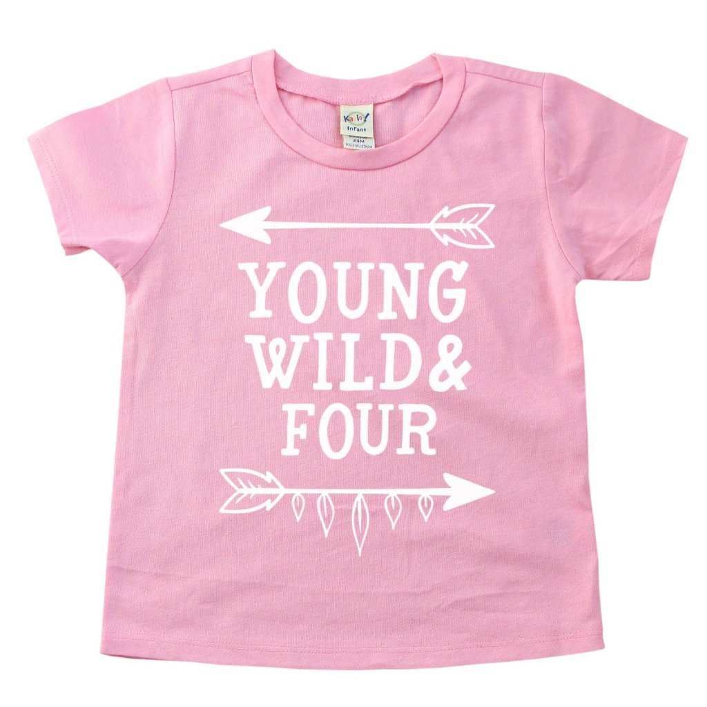 Pink shirt with white young wild four lettering