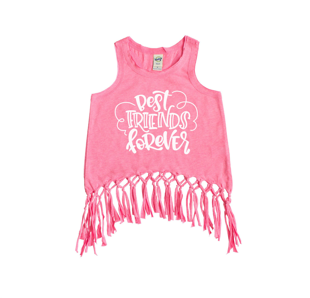 Pink fringe tank top with best friends forever written in white