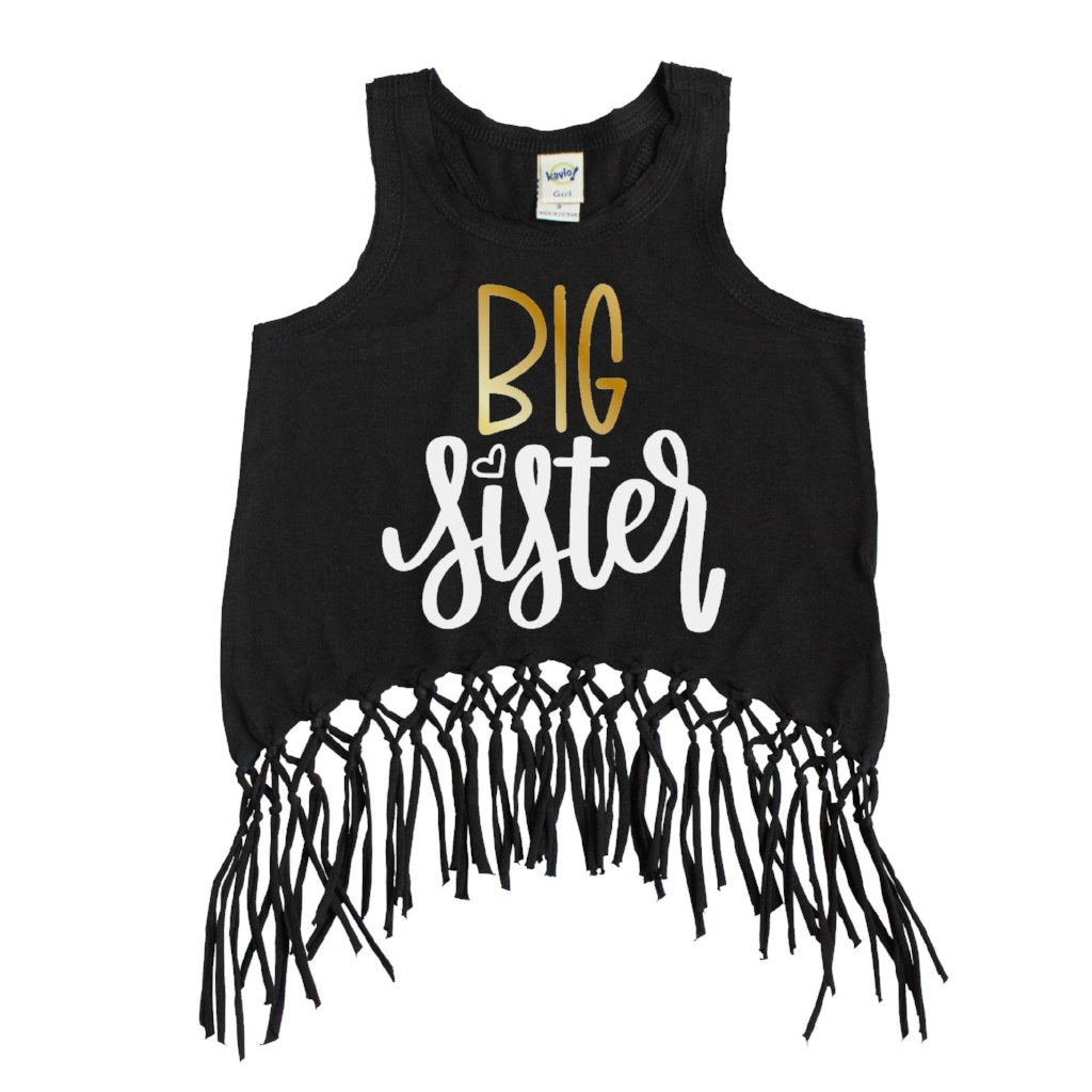 Black fringe tank top with big sister in gold and white