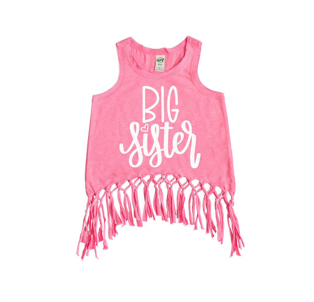 Pink fringe tank top with big sister in white on the front