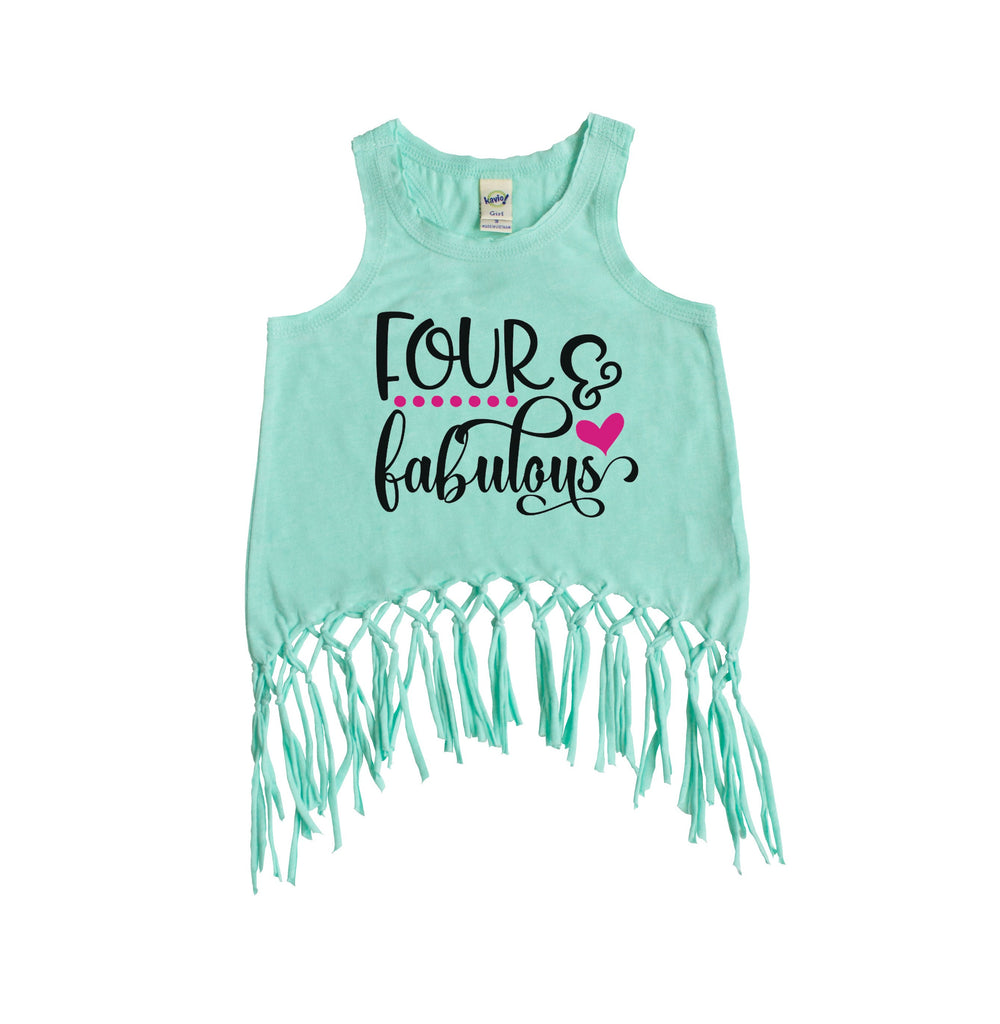 Green fringe tank with four and fabulous written in black and pink