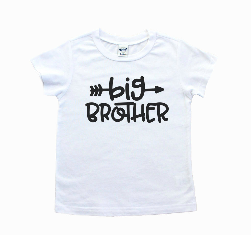 White tee with big brother in black