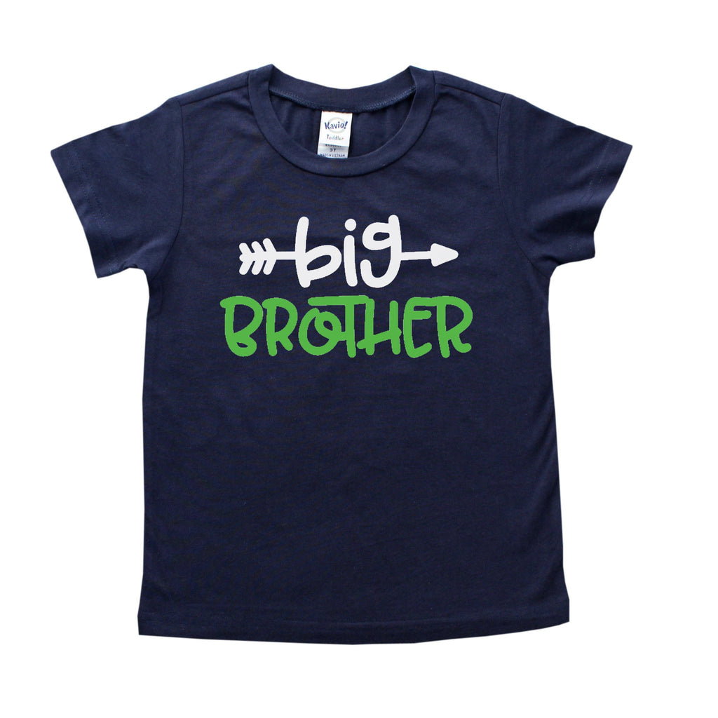 Navy blue shirt with big brother written in white and green