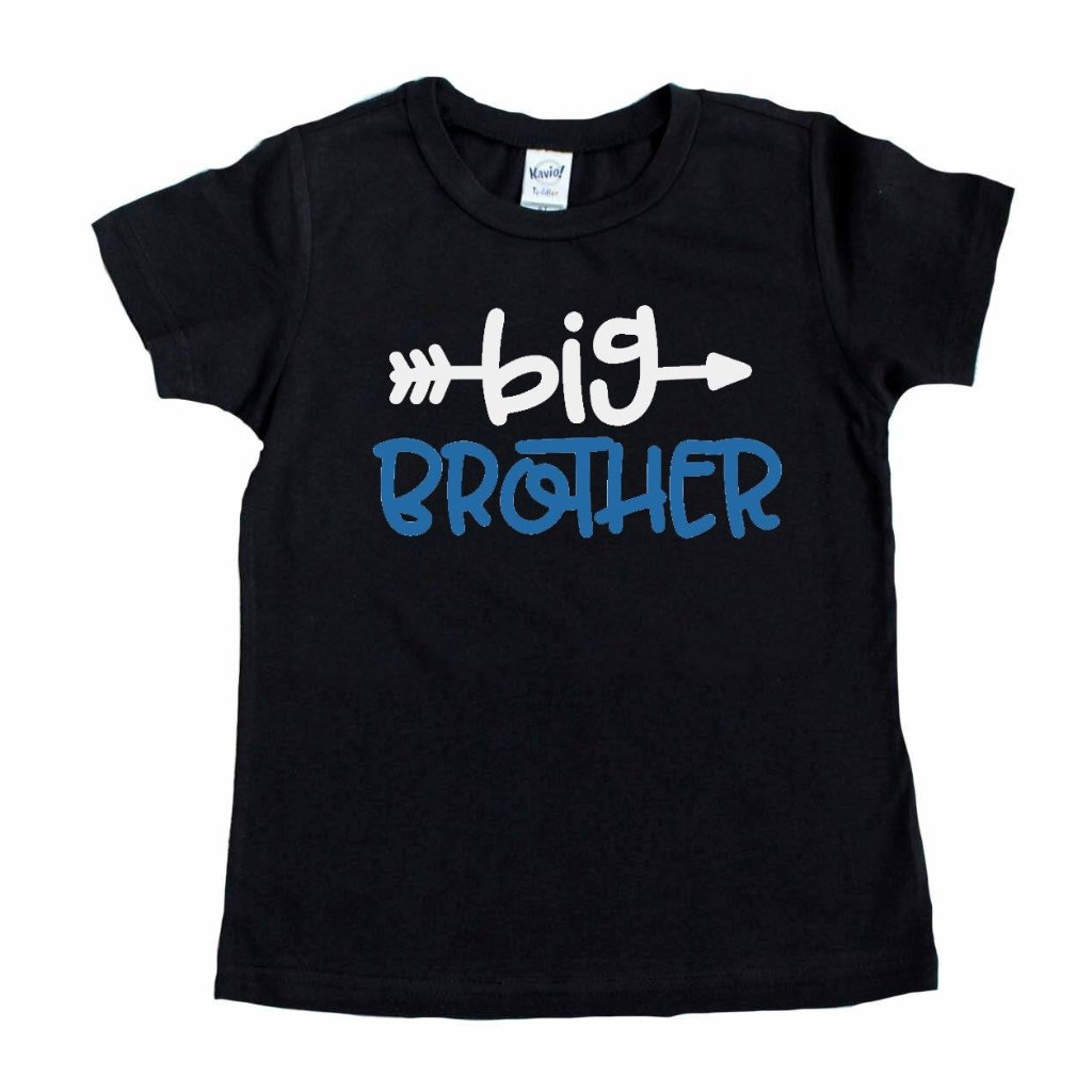 Black shirt with big brother in blue and white on front