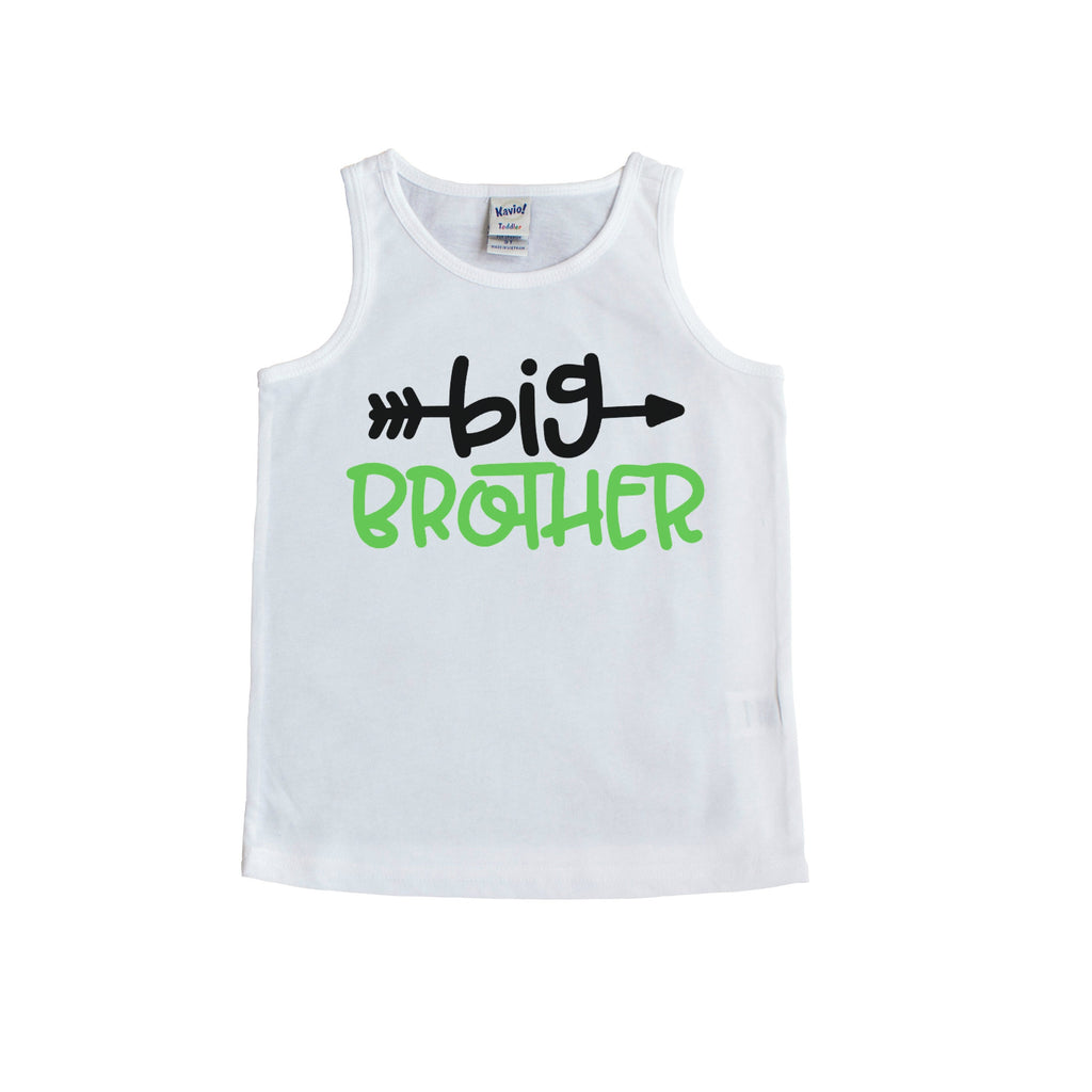 White tank top with big brother in black and green