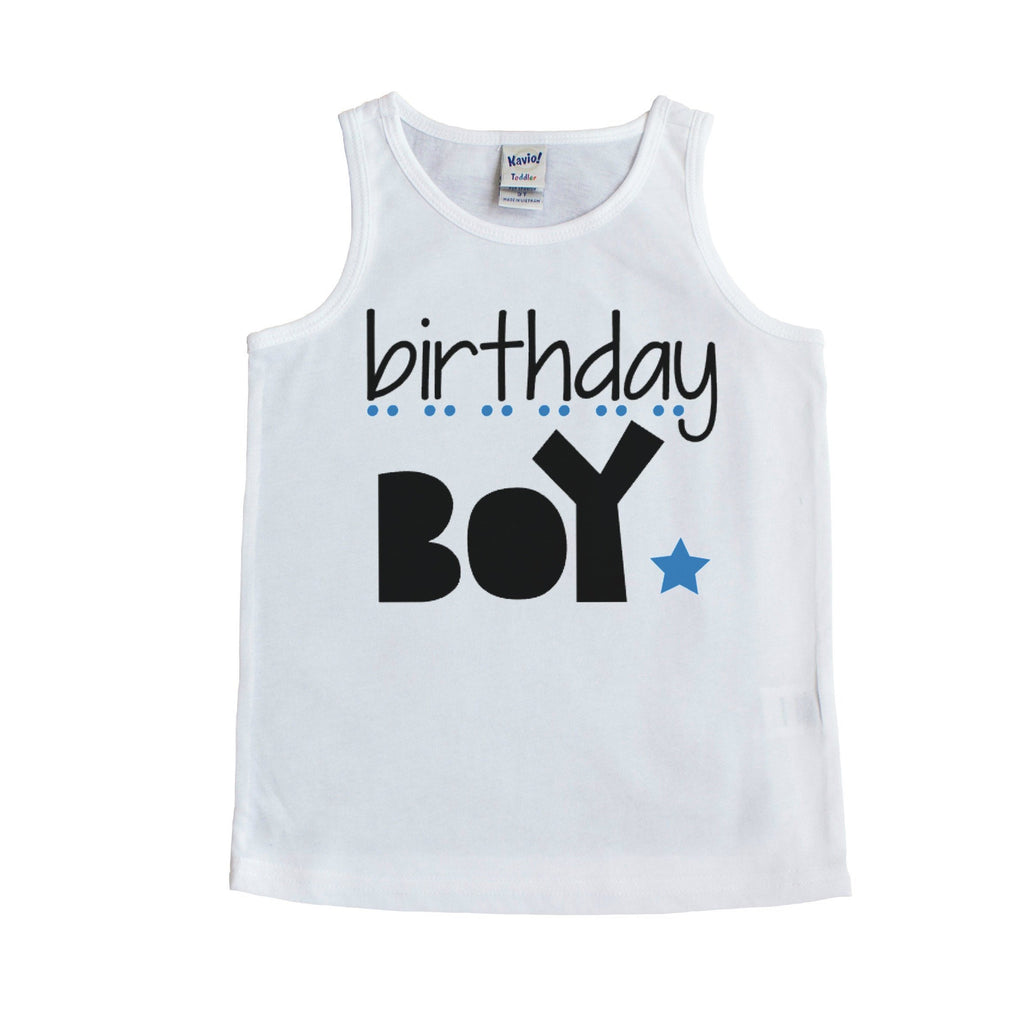White tank top with black birthday boy and blue star and dots