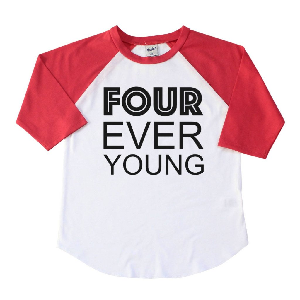 Red sleeve raglan with four ever young written in black