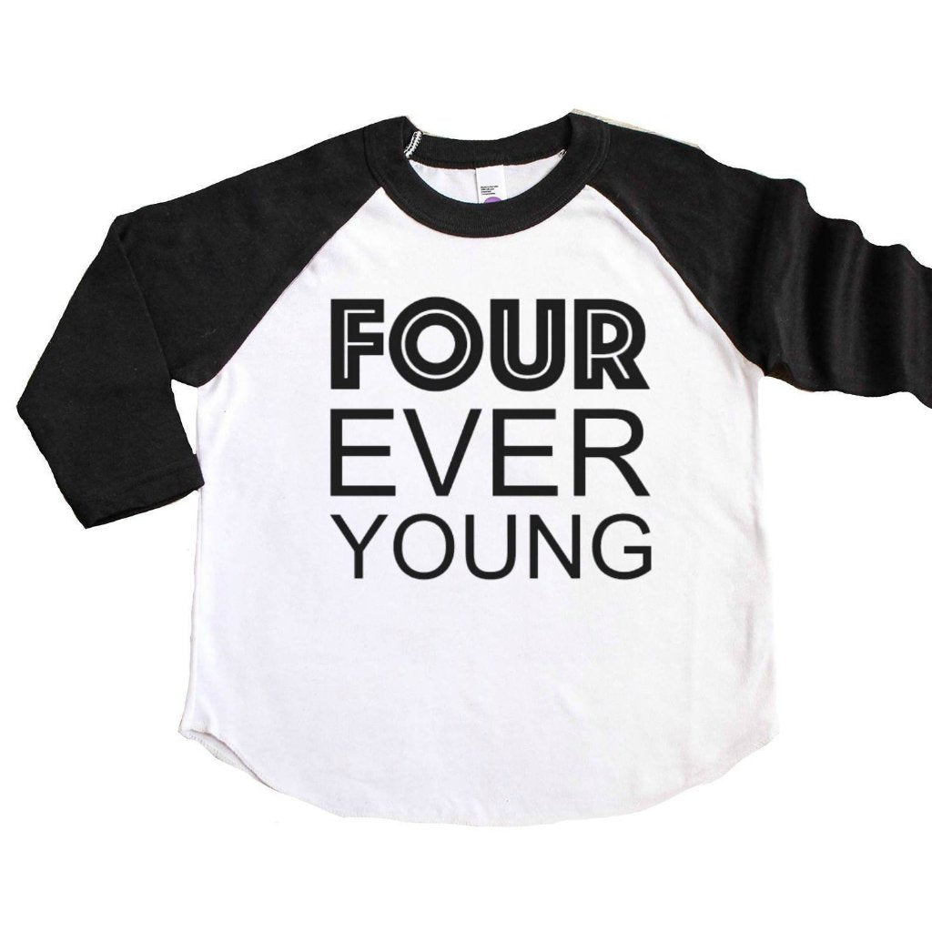 Black sleeve baseball tee with four ever young written in black