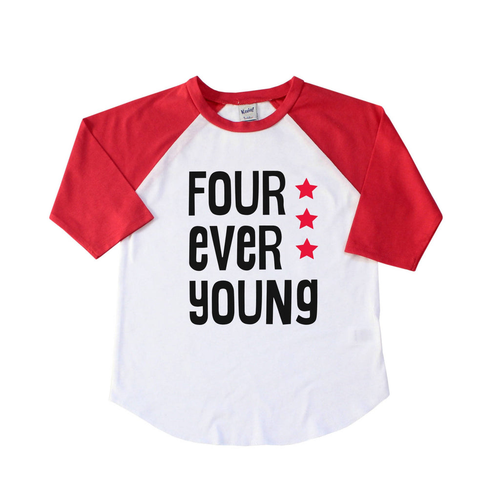 Red sleeve raglan with four ever young written in black with red stars