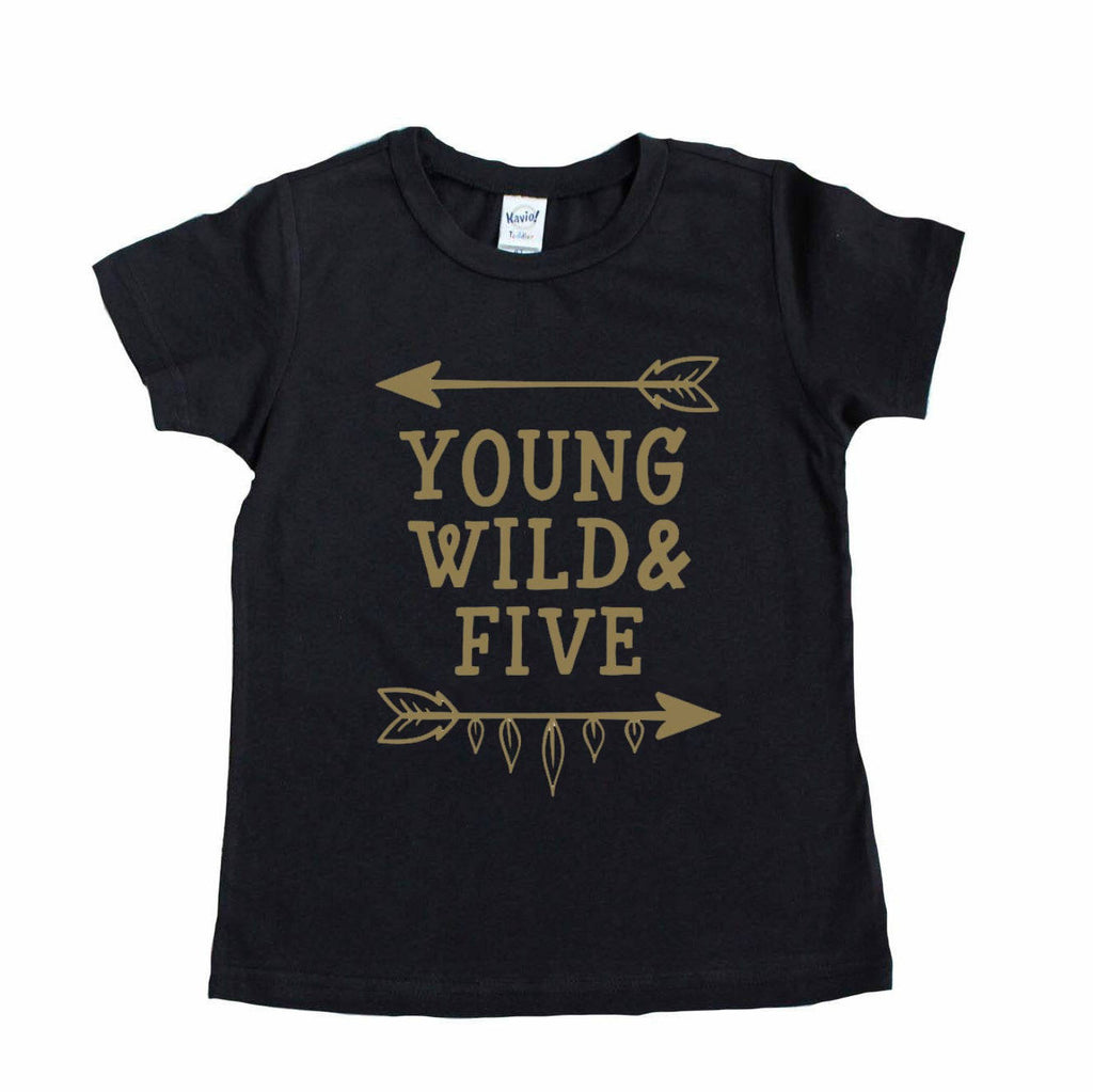 Black tee with young wild and five in gold writing