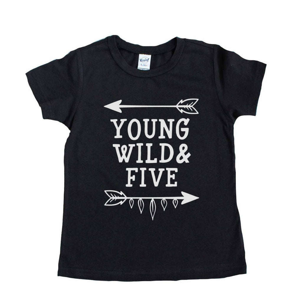 Black short sleeve tee with young wild and five in white writing