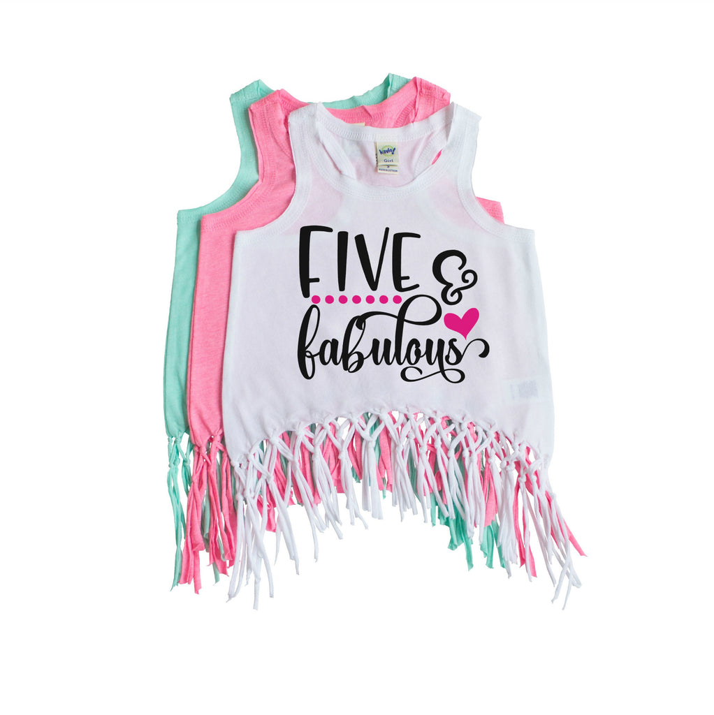 White fringe tank with five and fabulous written in black and pink