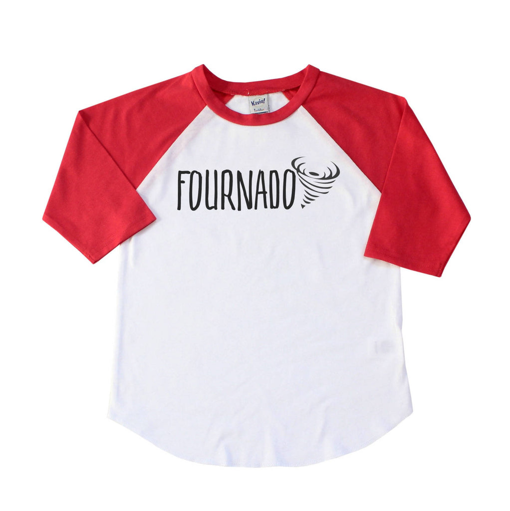 Red sleeve raglan with fournado written in black