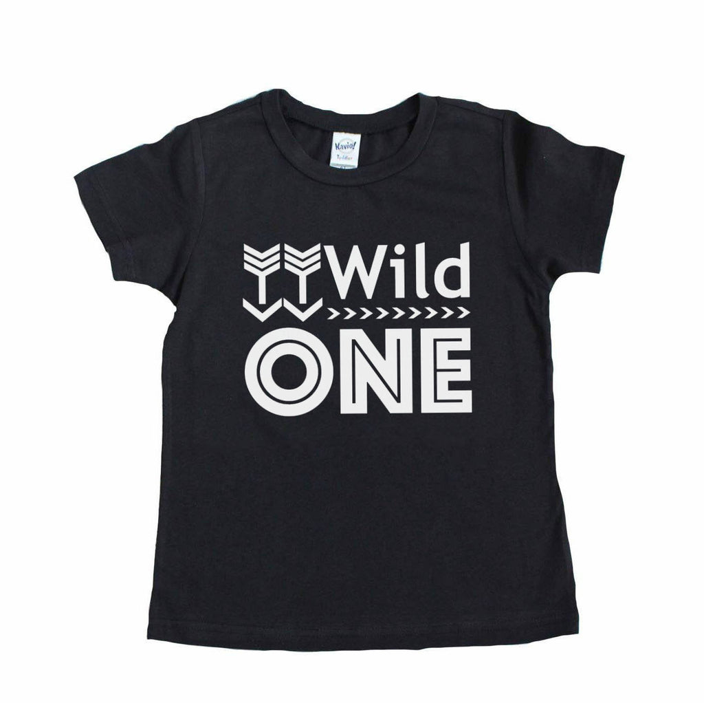 Black tee with wild one written in white